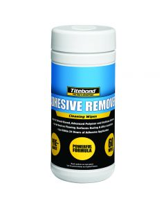 Titebond Adhesive Remover Cleaning Wipes are formulated to remove a variety of adhesive types, including solvent-based, advanced polymer, urethane, water-based and polyvinyl acetate (PVA).