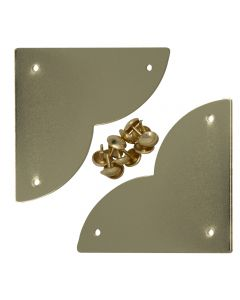 These large metal corner plates add a touch of historic flair to picture frames, doors, drawer fronts, chests and other casework.