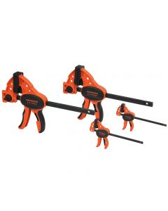 This value pack of fast-action clamps includes (2) 6'' Medium-Duty Clamps and (2) 4'' Hobby Clamps.