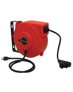 Volt King 12-gauge self-retracting cord reel lets you pull out as much of the extension cord as you need, then retract it neatly with a quick tug on the end of the cord.