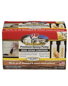 Repair and rebuild rotten or damaged wood with this 2-part hand-moldable, carvable, sandable epoxy putty. J-B Wood Restore Repair Putty Wood Filler creates a strong, permanent repair that adheres to wood, fiberglass and many other materials.
