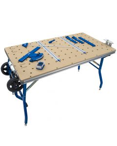 Kreg's ACS Project Table Kit combines table and base, letting you quickly and precisely position solid stock and sheet goods for cutting with your Kreg Plunge Saw and 62'' Guide Track (both sold separately).