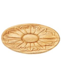 """A flower styled wooden medallion carved out of wood. 2-1/8"""" H x 4-3/8"""" W Oval Embossed Carvings"""