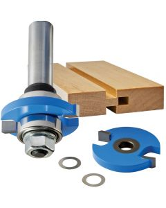Includes one arbor, two 22mm bearings, and two cutters. Make a Groove bit (shown) or a Tongue bit by attaching the second cutter.