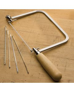 Hardwood handled coping saw and coping saw blades.