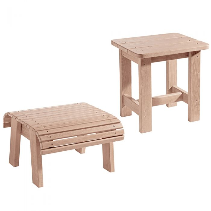Adirondack Foot Stool, Side Table Plans, and Hardware Pack