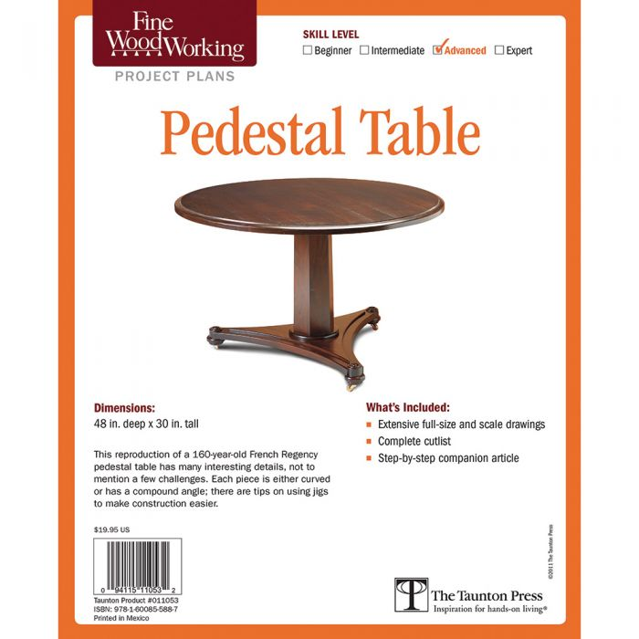 Buy Pedestal Table Project, Printed Plan