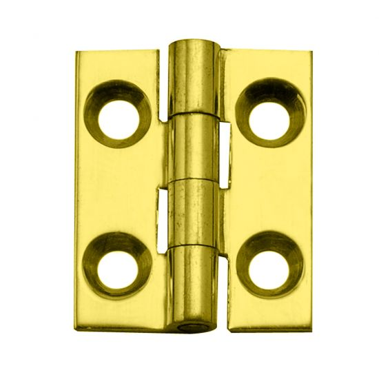 Narrow Miniature Solid Brass Hinges with Non-Removable Pin - Polished Brass Finish