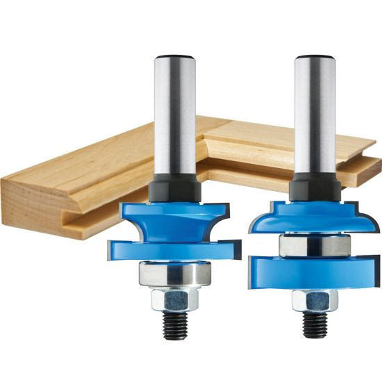 """Rockler Round-Edge Matched Stile and Rail Router Bit Set - 1-5/8"""" Dia x 1"""" H x 1/2"""" Shank"""