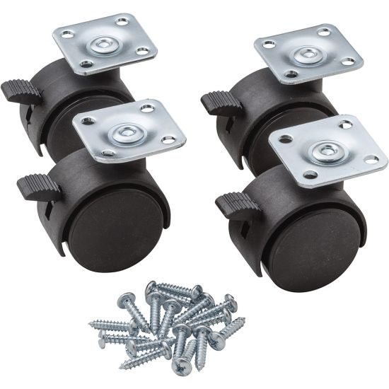 """Heavy Duty Twin Wheel Caster -Locking, Plate Mounted, 1-9/16"""" dia. Black (Screws included)"""