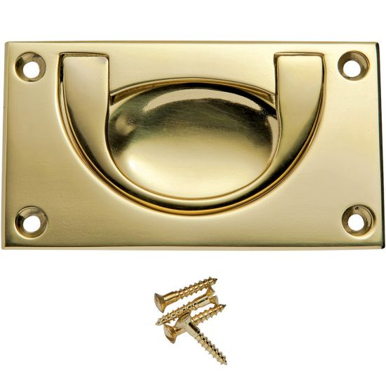 3-5/8''W Rectangular Recessed Pull, Polished Brass