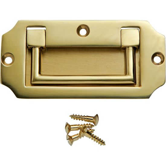 3-9/16''W Notched Rectangular Recessed Pull, Polished Brass