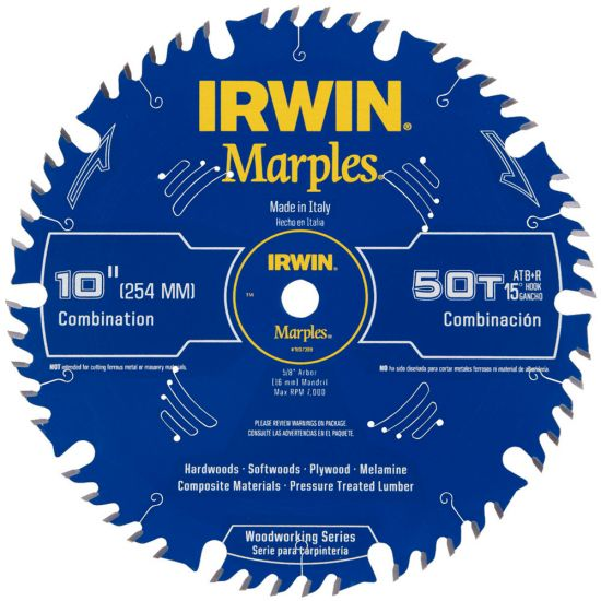 "Irwin 10"" x 50T Marples ATB+R Combination Saw Blade"