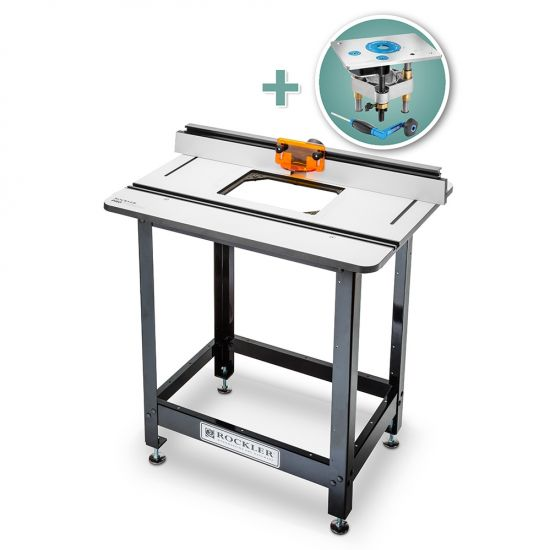 Rockler Phenolic Router Table Top, Pro Fence, Steel Stand & Pro Lift Router Lift
