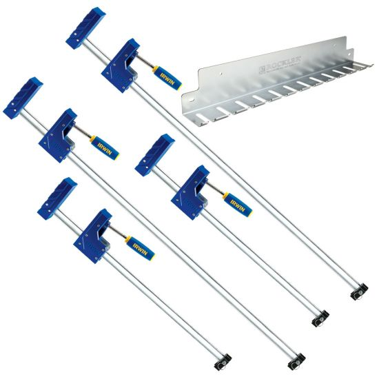Four Irwin Parallel Clamps w/Clamp Rack