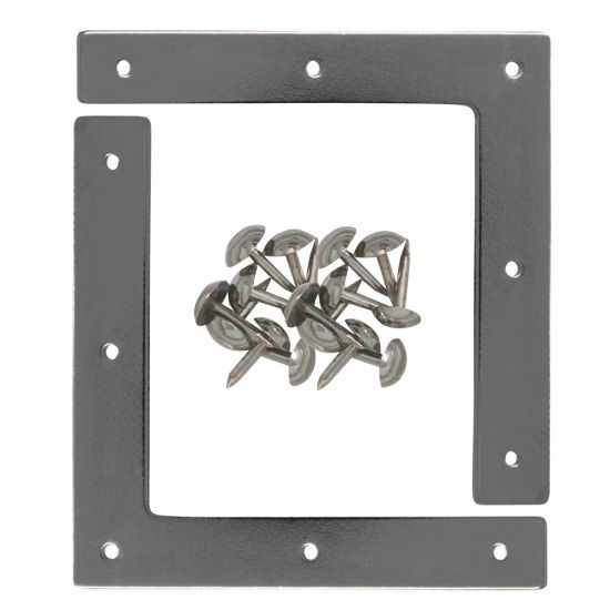 Metal corner plates add a touch of historic flair to picture frames, doors, drawer fronts, chests and other casework.