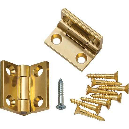 Brusso Solid Brass Small Box Stop Hinges