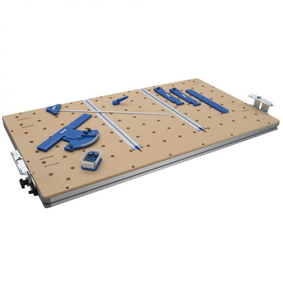 Hinged track lifting mechanism make it easy to position boards under the Guide Track