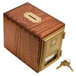 Brass coin slots protect the wood and look great! Solid brass bank door (55358) and wooden bank sold seperately.