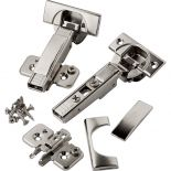 Pair of Blum 110 Degree Soft-Close BLUMotion Clip Top Overlay Hinges for Frameless Cabinets with plates, screws and covers.