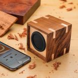 A completed Rockler Wireless Speaker Kit with Playback/Volume Controls