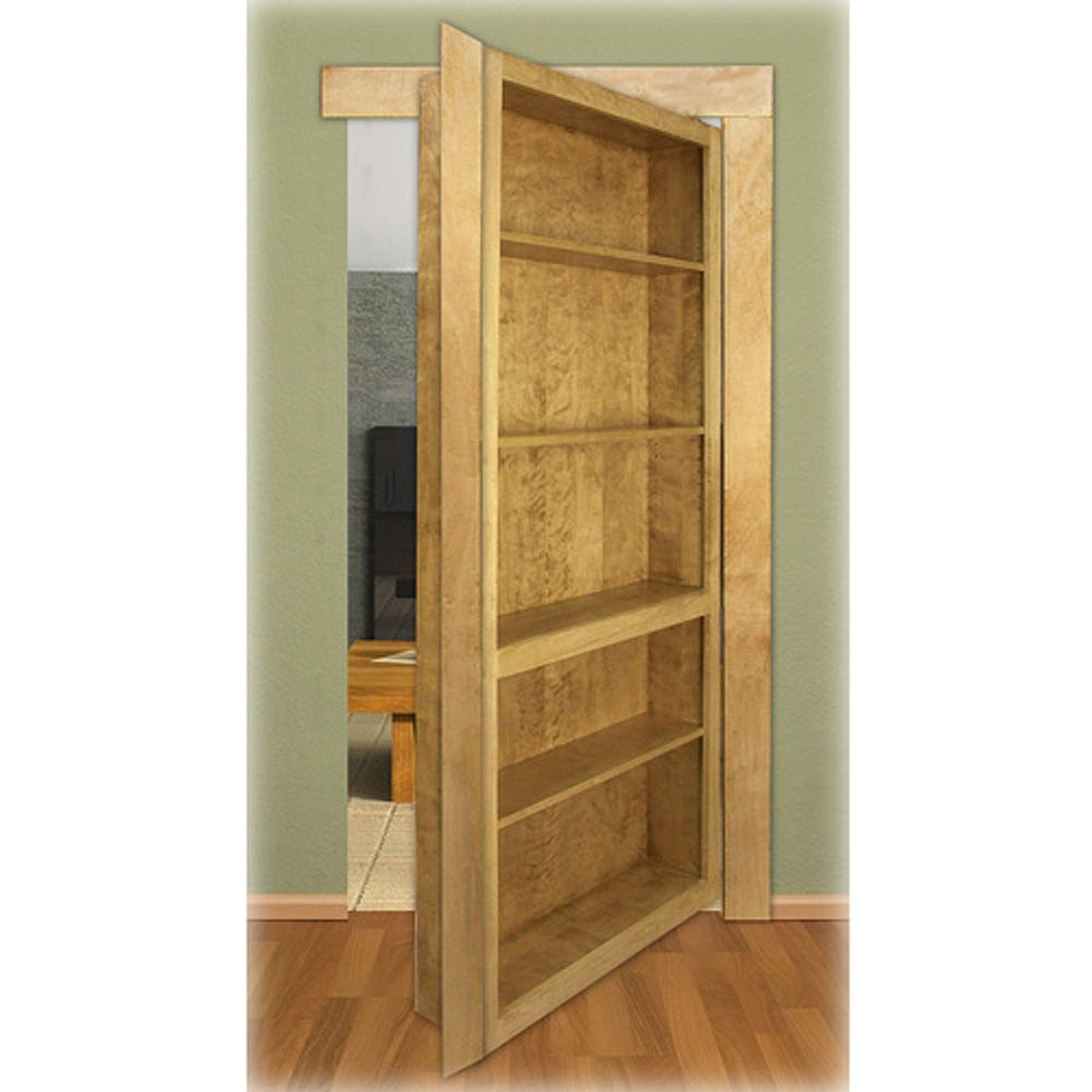 Red Oak Bookcase: InvisiDoor Bookcase Shelving Unit Kit - Red Oak