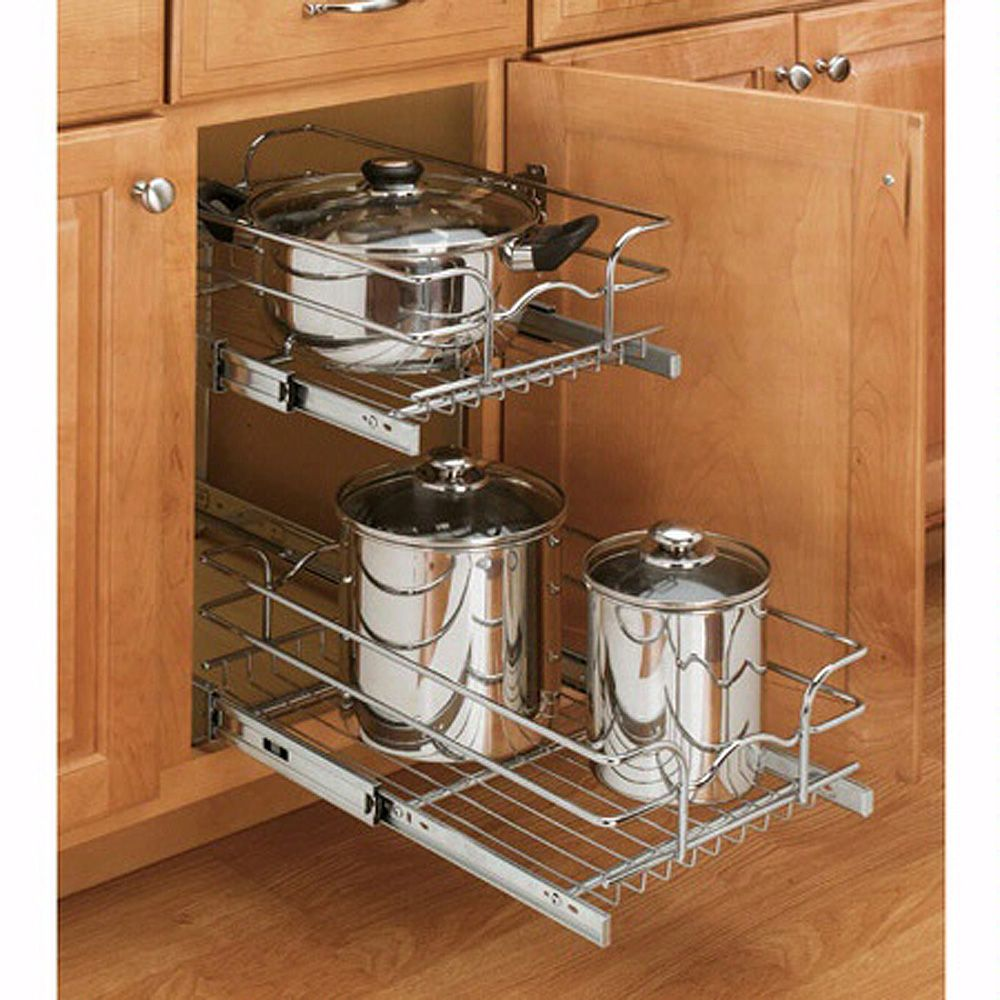Kitchen Cabinet Slide Out Shelf: Cabinet Pullout Single And Double Tier Wire Baskets, Rev-a