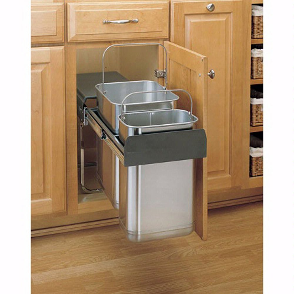 Double Pullout Stainless Steel Waste Containers Rev A Shelf 8 785 Series Tap To Expand