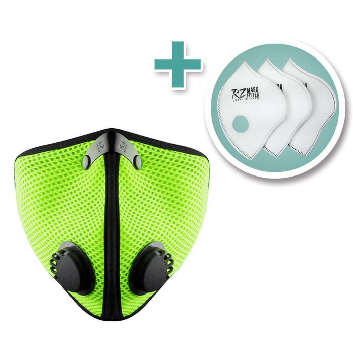 Extra Large M2 Mesh Face Mask With 3 Pack F2 Filters Safety Green