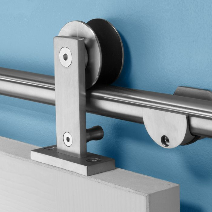 i semble rolling door hardware kit, top mount, stainless steel