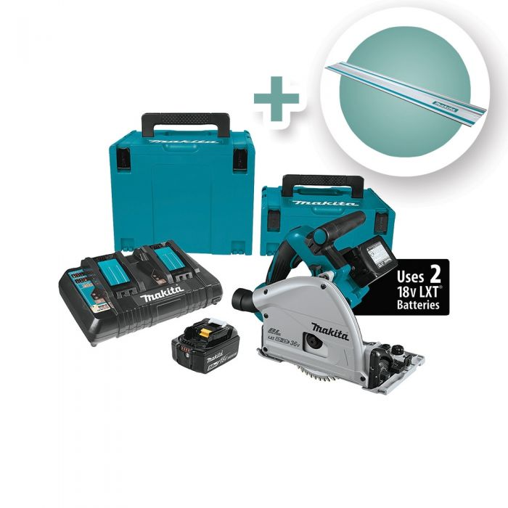 Makita 18V X2 Brushless Cordless 6-1/2'' Plunge-Cut Circular Saw Kit with  55'' Guide Rail