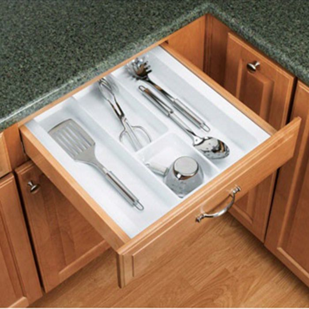 Kitchen Drawer Utensil Organizer Inserts, Rev-a-Shelf UT Series-Textured  White Finish