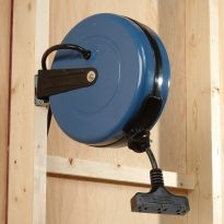 Easily mount to a wall with attached bracket or hang from the ceiling to add convenience to your shop.