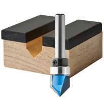 """Rockler V-Groove Template Router Bit - 1/2"""" Dia x 1/2"""" H x 1/4"""" Shank"""