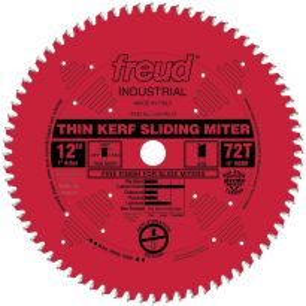 "Freud LU91R012 12"" x 72T Thin Kerf Sliding Compound Miter Saw Blade"