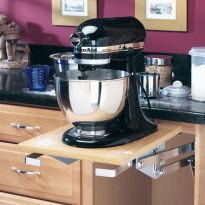Heavy-duty appliance lift mechanism easily raises your mixer to countertop level (Shelf not included).