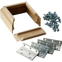 Includes four extruded L-brackets with screws and your choice of Oak or Maple 2' trim