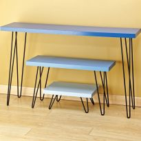Hairpin legs are sold in sets of four and are available in three different sizes.
