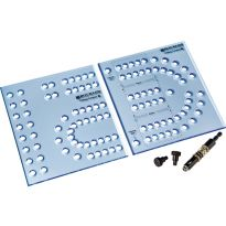 Includes 2-Piece XL Cribbage Template, Self Centering Drill Bit, and 2 indexing pins.