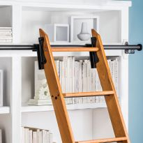 Rockler 8 Foot Classic Rolling Library Ladder Kit Hardware with 12 Feet of Track, Satin Black