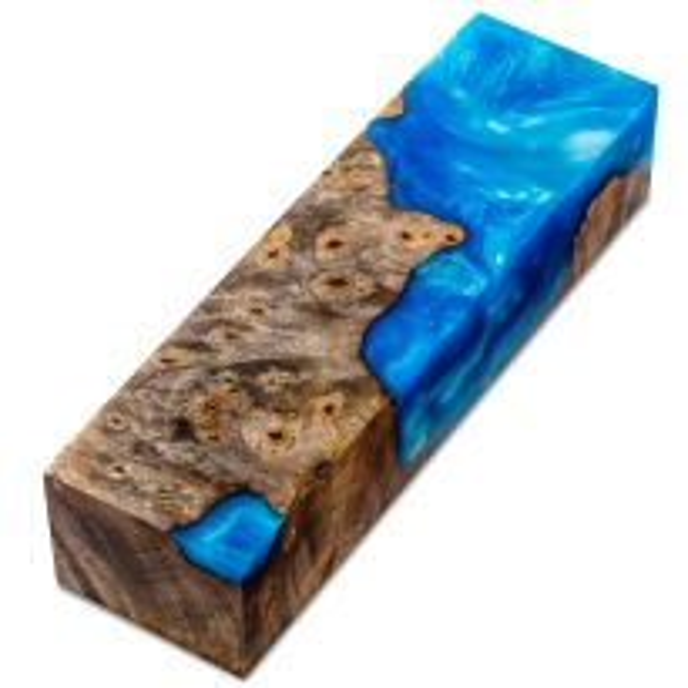 Knife Scale Block, Burls and Swirls, Sky Blue