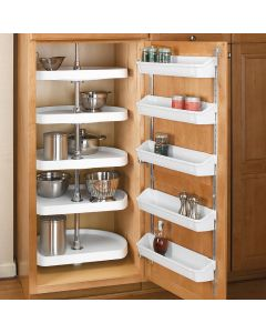Polymer 5 Shelf Set with independently rotating hardware and telescoping shaft (cabinet door organizer not included)