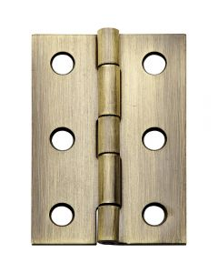 Narrow Miniature Solid Brass Hinges with Non-Removable Pin - Antique Brass Finish