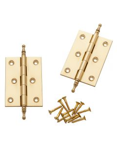 Polished Brass Finial Tip Hinges 3'' Long x 2'' Wide