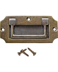 3-9/16''W Notched Rectangular Recessed Pull, Antique Brass