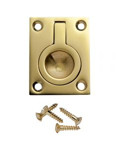 1-1/2''W Rectangular Recessed Ring Pull, Polished Brass