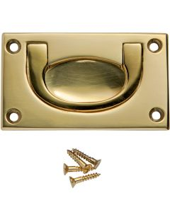 2-1/2''W Rectangular Recessed Pull, Polished Brass