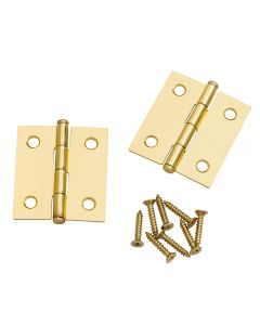 Flat-tipped Butt Hinges, 2''L x 1-3/4''W, Polished Brass