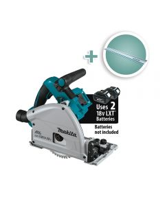 Makita 18V X2 Brushless Cordless 6-1/2'' Plunge-Cut Circular Saw with 55'' Guide Rail, Bare Tool