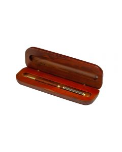 Rosewood pen box holds one pen for display or storage